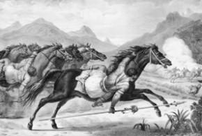 "Obra ""Carga da cavalaria Guaicuru"", de Jean Baptiste Debret - Jean Baptiste Debret, 1834"